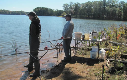 Paylakers Tom Ward (left) and Scott Robbins (right) fishing Lake Blalock in Chesnee, SC