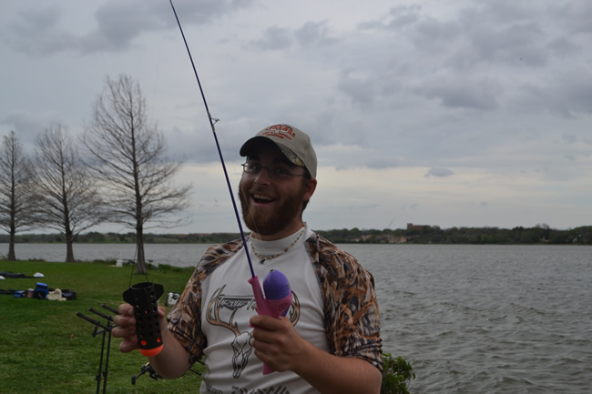 Ryan Daniel displays his new spod rod during Session 2 of the Wild Carp Club of North Texas