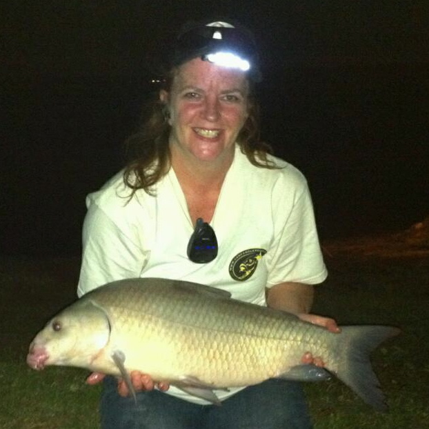 Laura Deatherage with her first ever smallmouth buffalo caught during session 3 of the Wild Carp Club f North Texas