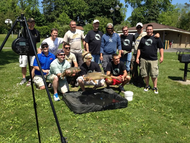 The participants f the 2012 JGB Celebrity Carp Challenge in Baldwinsville, NY